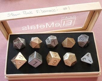 Steam Punk Fibonacci #4 Zucati EleMetal™ Cast Iron, Bronze, and Brass Polyhedral Set