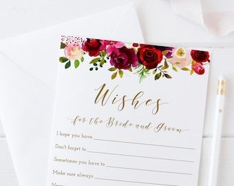wishes for the bride and groom marsala bridal shower games printable advice cards burgundy wedding wishes instant download fl2