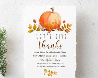 thanksgiving invitations etsy