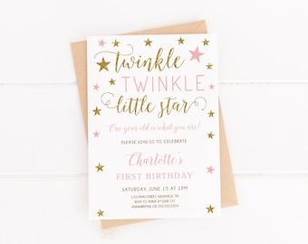 Twinkle Little Star First Birthday Invitation Girl Editable Template 1st Printable Invite Instant Download
