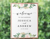 Greenery Wedding Welcome Sign Template, Succulent and Roses, Printable, Rustic Wedding Decor - GN3