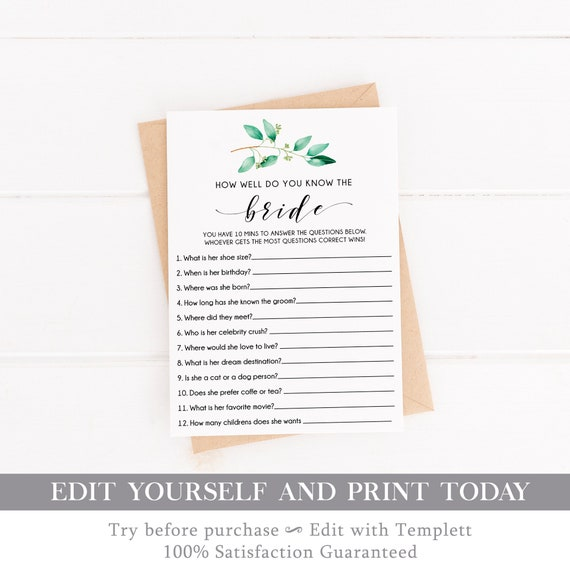 graphic regarding How Well Do You Know the Bride Printable known as EDITABLE Bridal Shower Video game, How Perfectly do on your own Realize the Bride