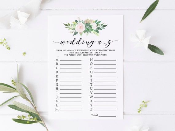 Succulent wedding shower games, Wedding A-Z game, instant