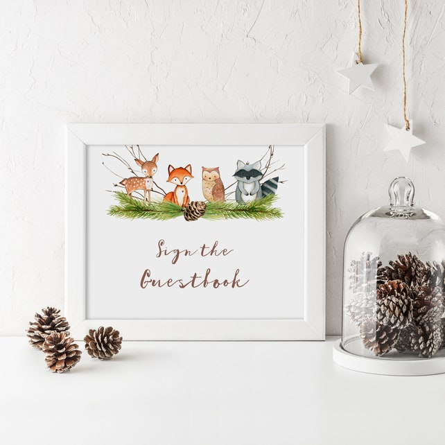 Guest Book Sign Baby Shower Forest Animal Baby Shower Sign