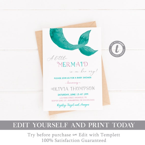 graphic regarding Mermaid Template Printable referred to as Mermaid little one shower invitation, Down below the sea female child
