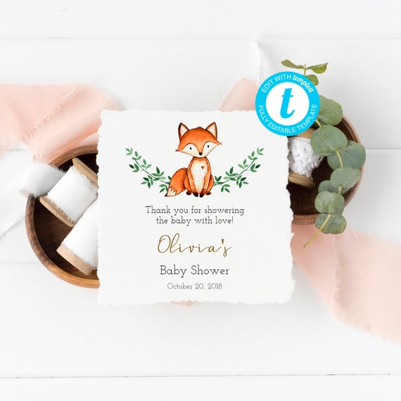 Fox Baby Shower Thank You Tag Editable Tag Woodland Favor Tag