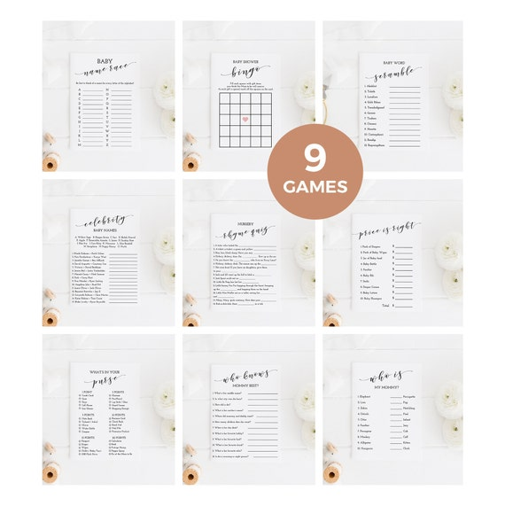 Gender Neutral Baby Shower Games Printable Baby Shower Game Package