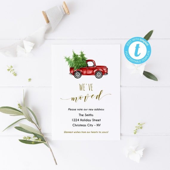 Christmas Moving Card Printable Announcement New Home
