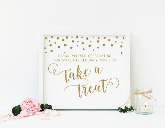 Gold Baby Shower Dessert Table Sign Baby Shower Treat Sign Please