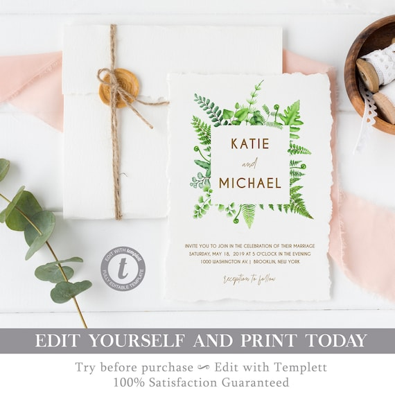 Wedding Invitation Template Printable Invite Greenery Fully
