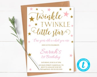 Twinkle Twinkle Little Star First Birthday Invitation, Pink and Gold Glitter Birthday Invite, Girl First Birthday Invitation Printable - SG2