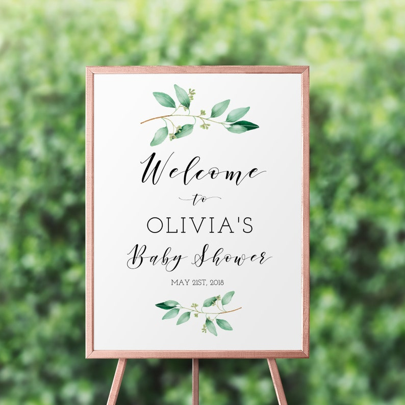 Greenery Baby Shower Welcome Sign Template Welcome Baby Etsy