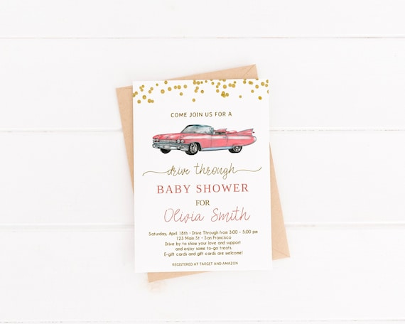 Drive Through Baby Shower Invitation Drive By Baby Shower Etsy