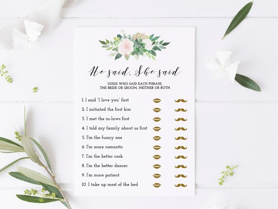 image about He Said She Said Bridal Shower Game Free Printable identified as He claimed she claimed succulent bridal shower activity printable