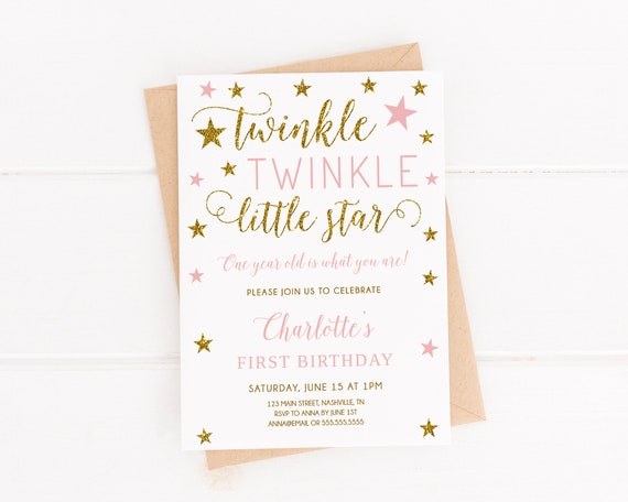 Twinkle Twinkle Little Star First Birthday Invitation Girl