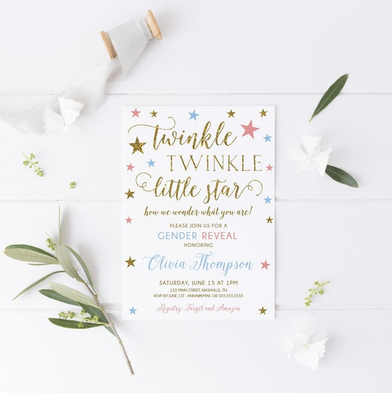 Twinkle Little Star Gender Reveal Party Invitation Printable
