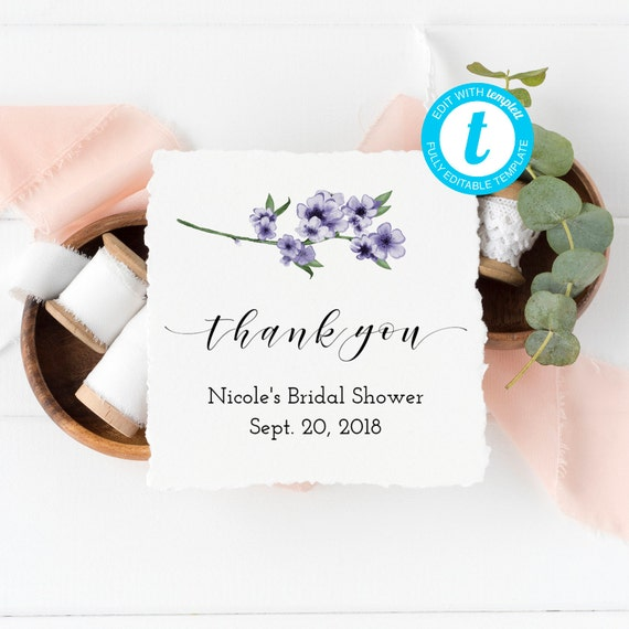 Violet Shower Thank You Tags Purple Bridal Shower Favor Tags