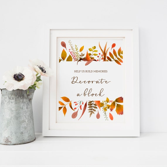 Fall Baby Shower Decorate A Block Sign Fall Leaves Baby Shower