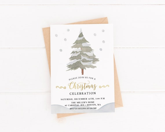 Christmas Party Invitation Instant Download Holiday Party Invite