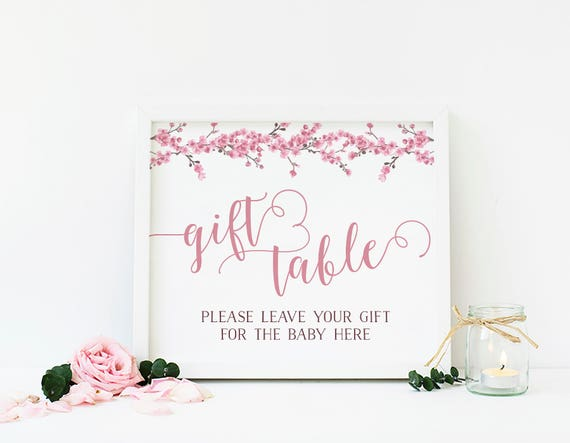 Cherry Blossom Baby Shower Gift Table Pink Shower Table