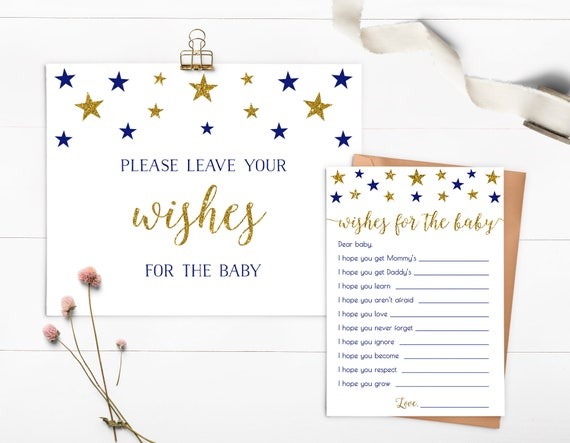 Twinkle Star Wishes For Baby Baby Shower Wishes Wishes Printable