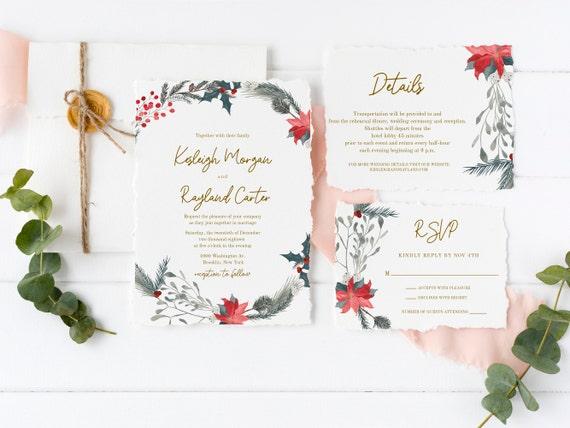 Christmas Wedding Invitation Template Winter Set