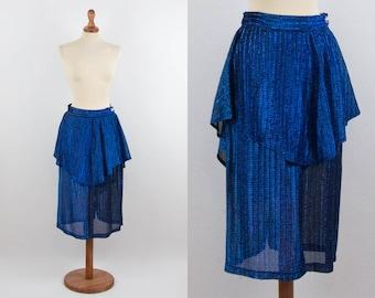 3ea156f8e1 80s Vintage Skirt, Lurex Blue Color, High Waist, Frills Skirt, Flounce Pencil  Skirt, Eighties Authentic, Vibrant Blue, Size Medium