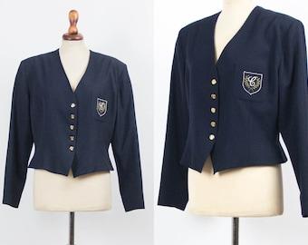 3b352dd4831 Vintage Cacharel Blazer, Blue Jacket, 80s Vintage Blazer, Blue Navy,  Buttoned Up Jacket, Cacharel 1980s, Size S M