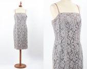 1950s Dress, Lace 50s Dress, Sheath Vintage Dress, Fifties Wiggle Dress, 50s Lace Dress, Grey Color, Macrame, Size M