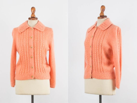 50s Vintage Knitwear, Orange Pink Color, Long Slee