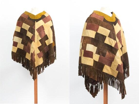 Leather Cape, 70s Vintage Coat, Patchwork, Brown C