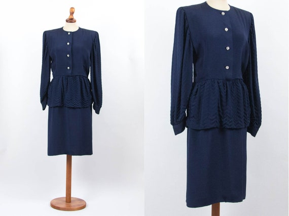 1940s Dress, 40s Dress Blue Party Dress, 1940s Vin