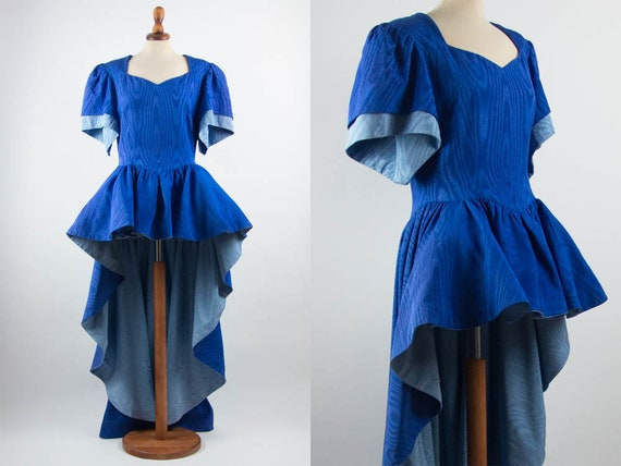 Made In Italy Costume Dress Pouf Skirt Blue Light Blue Color Train Dress Wide Shoulders Scenic Dress Sartorial 50s Vintage Dress