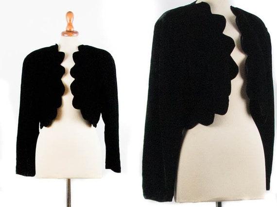 60s Velvet Bolero Jacket, Vintage Black Blazer, El