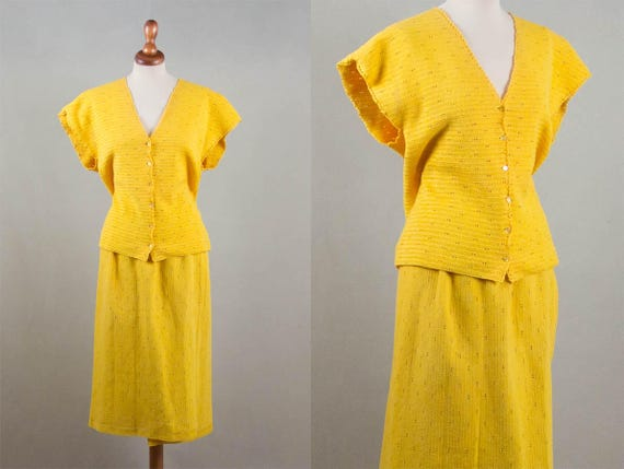 50s Knitted Dress, Vintage Yellow Dress, Handmade