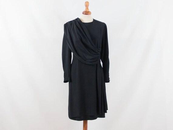1980s dress, eighties dress, vintage black, elegan