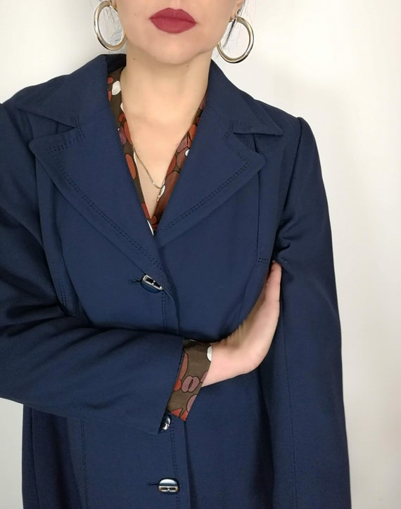 Navy Blue Trench, 70s Coat, 1970s Fashion, Blue Co