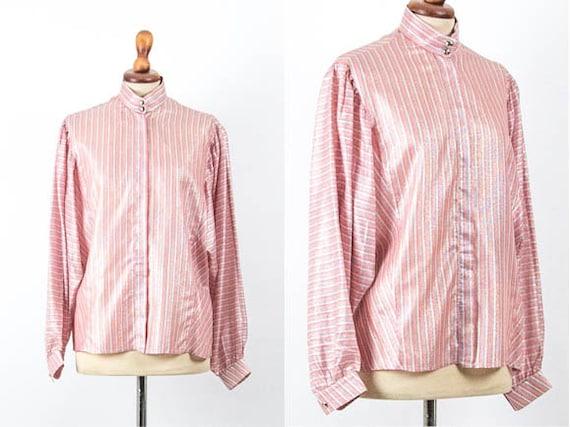70s Vintage Blouse, Boho Chic Shirt, Lurex Lamè, S