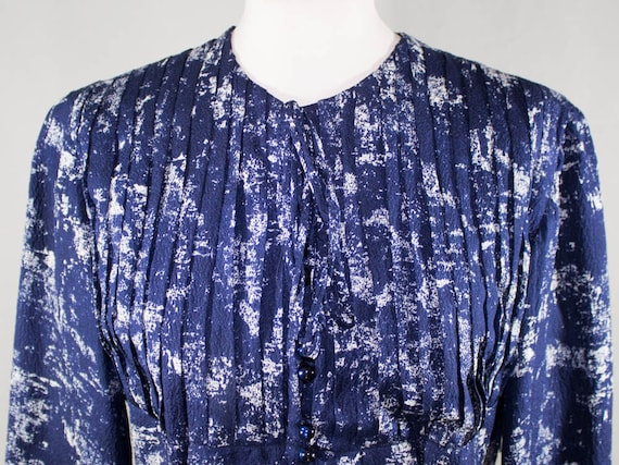 40s Vintage Dress,Blue White Dress, Bow Dress, Tai