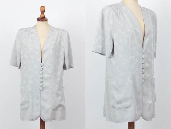 40s Blouse, Vintage Shirt, Buttons, Floral, Brocad