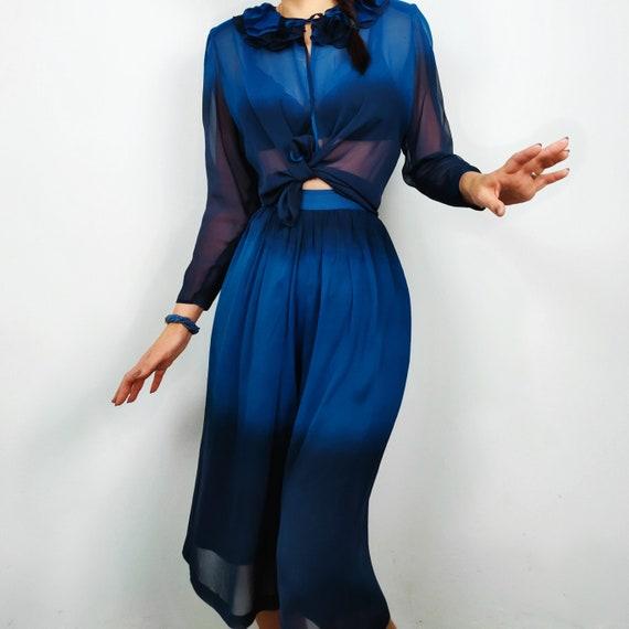 40s Silk Dress, Culotte, Pants Blouse, Vintage Sui