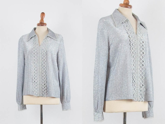 1960s Silver Blouse, Vintage Top, Late Sixties Blo