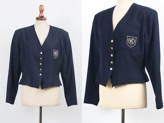 Vintage Cacharel Blazer, Blue Jacket, 80s Vintage
