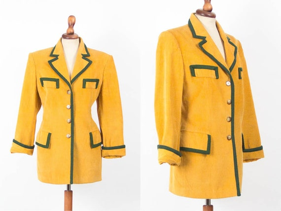 Womens Jacket, Equestrian, 80s Fashion, Yellow Bla