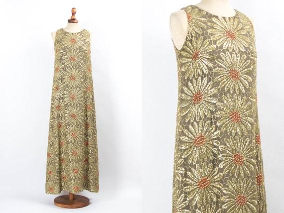 Bohemian Maxi Dress, 60s Maxi Dress, Brocade Metal