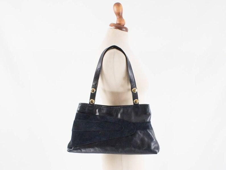 dfecc8cb54 70s blue handbag leather vintage handbag wide blue bag made