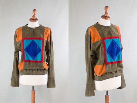 vintage suede shirt / 1980s color suede shirt / su