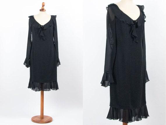 Escada Vintage Dress, 90s Black Dress, Elegant Bla