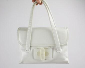 60s Vintage Handbag, White Color, Genuine Soft Leather Bag, Top Handle Handbag, Early 60s Vintage, Rectangular Shape, Resin Closure, Italian