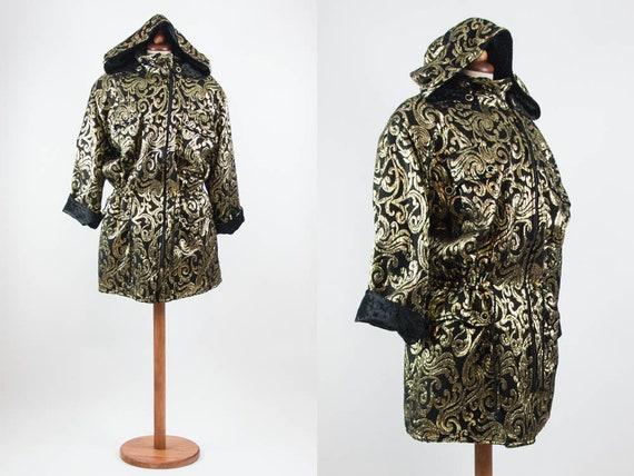 80s Vintage Coat, Gold And Black Anorak, Eighties